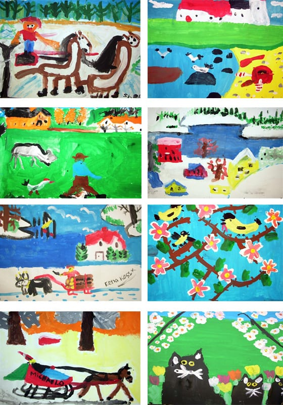 A gallery of student paintings inspired by Canadian artist Maud Lewis