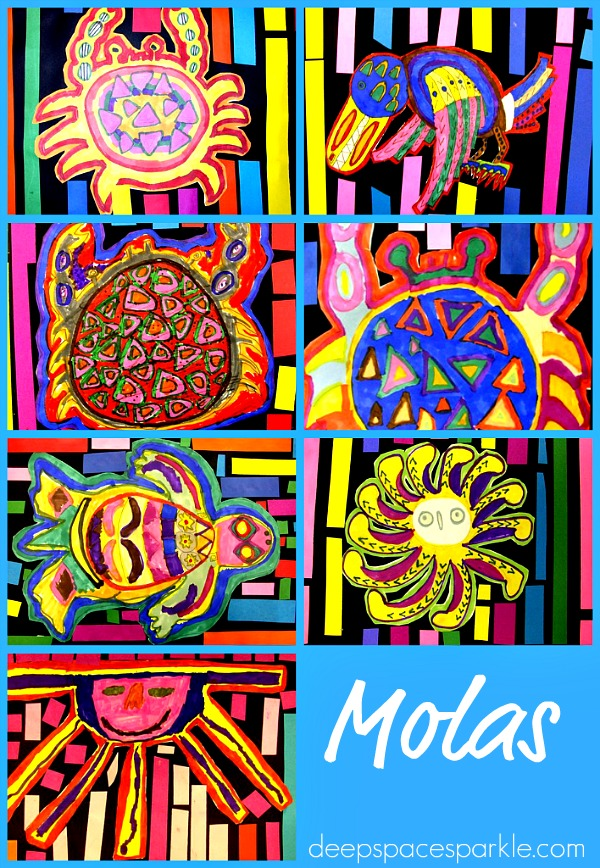 Molas Art Lesson using Markers and Paper