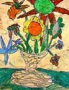 """Antiqued"" Oil Pastel Flowers in a Vase"