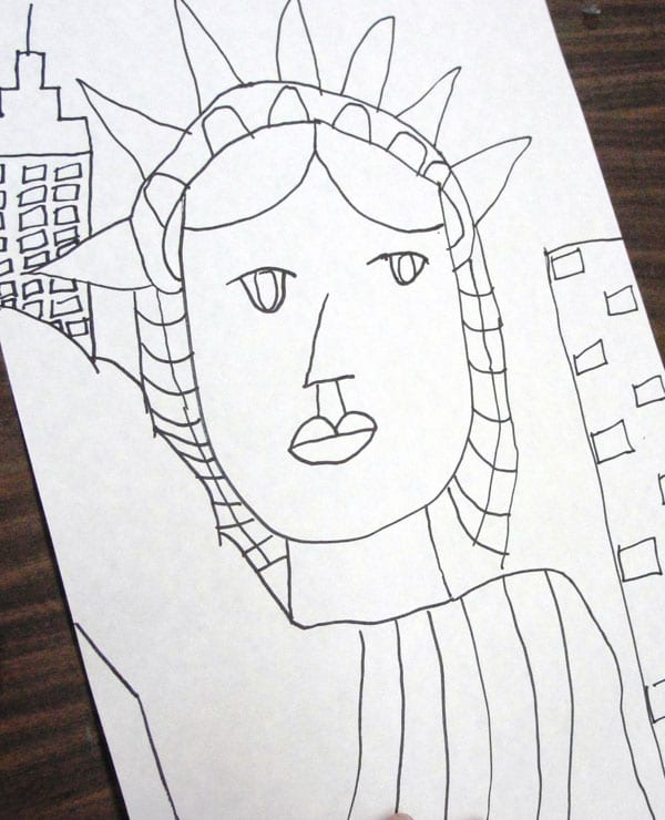 Lady liberty with watercolor or newspaper deep space sparkle for Statue of liberty drawing template