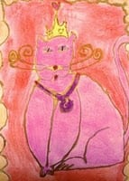 """Fancy Cats"" Art Lesson in Chalk and Glue"