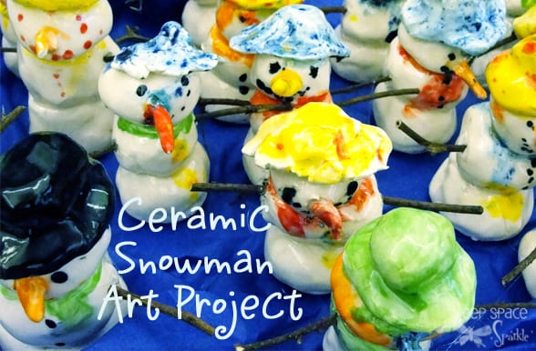 Clay snowman art project for kids.