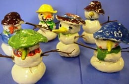 Ceramic Snowmen Art Lesson for Kinders