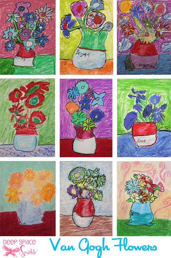 Van Gogh Sunflower Art Lesson In Oil Pastel And Tempera Paint Deep Space Sparkle