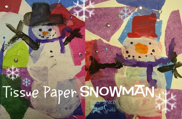Kids use tissue paper, paint and sequins to make this adorable mixed-media snowman art project