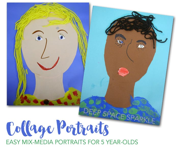 Easy portrait craft with paper, paint and yarn