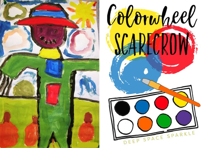 Easy art projects that teaches kids how to make secondary colors from primary colors: Colorwheel scarecrow art project