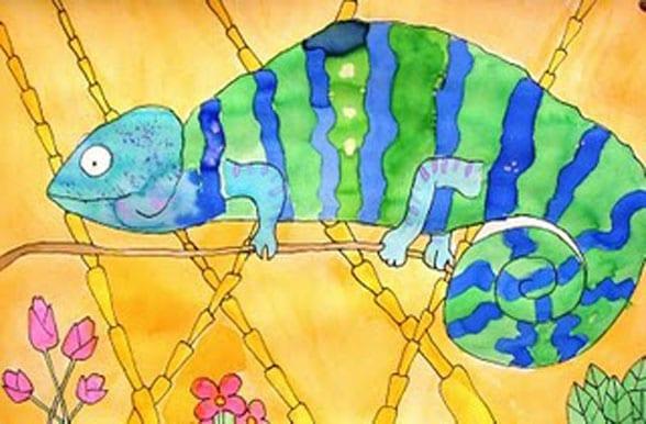 Watercolor Chameleon Art Lesson