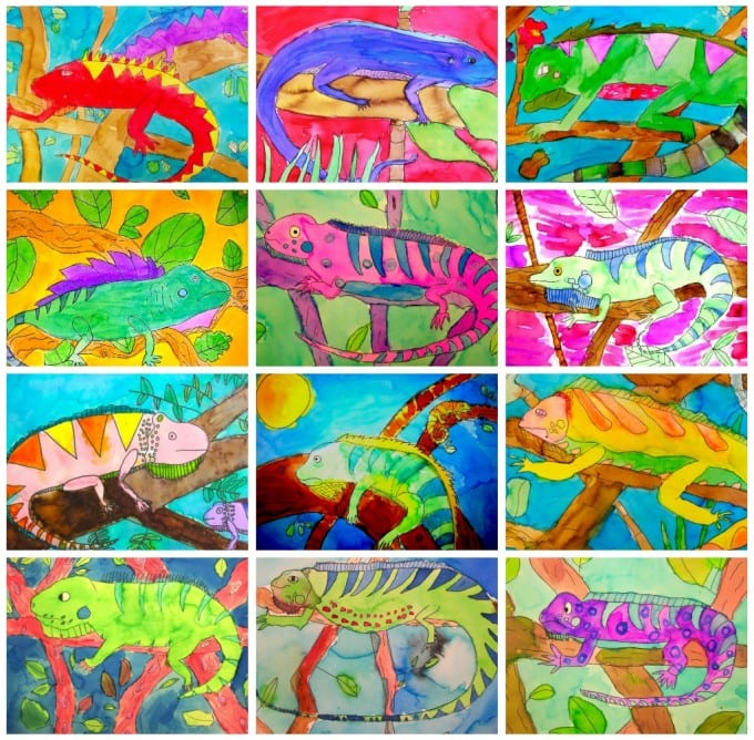 How to draw & paint a chameleon. Art project for kids.