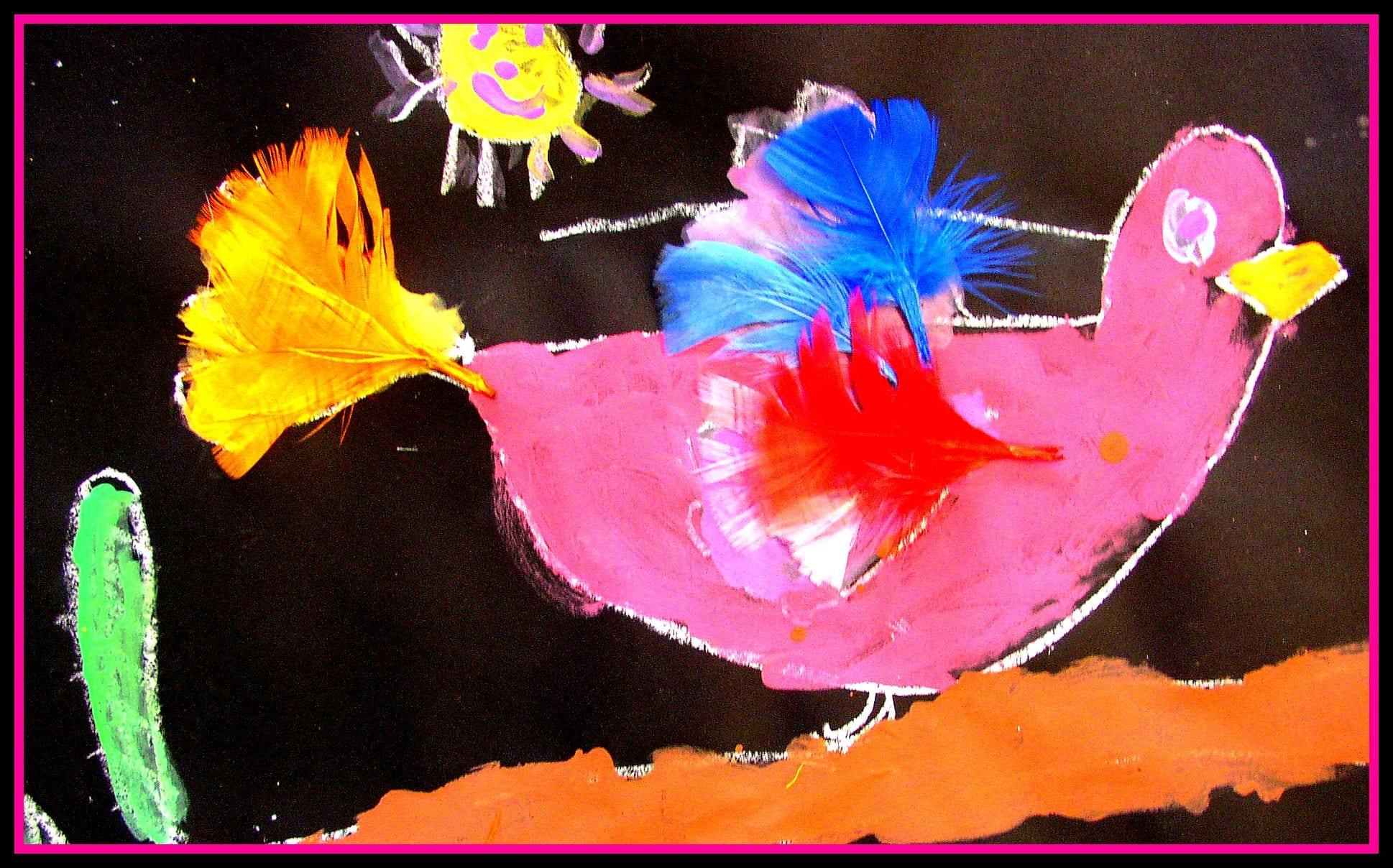 painted bird art project for children