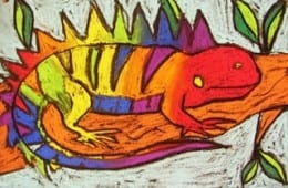 Chalk Pastel Lizards for Fifth Grade