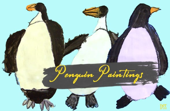 How to draw and paint a penguin and his Antarctica home