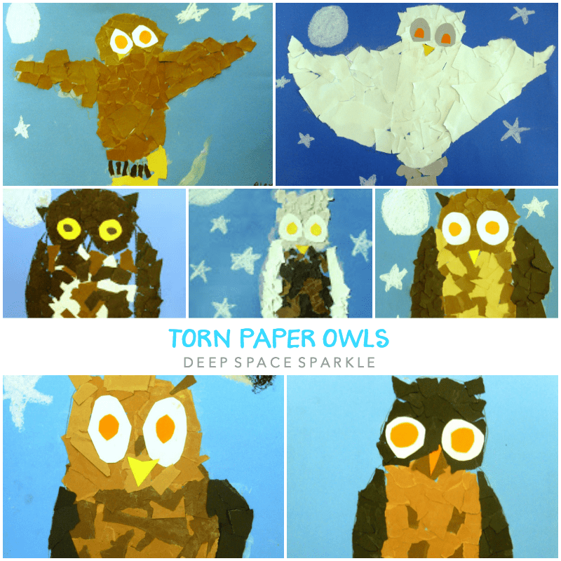 Torn Paper Owls Art Lesson Gallery
