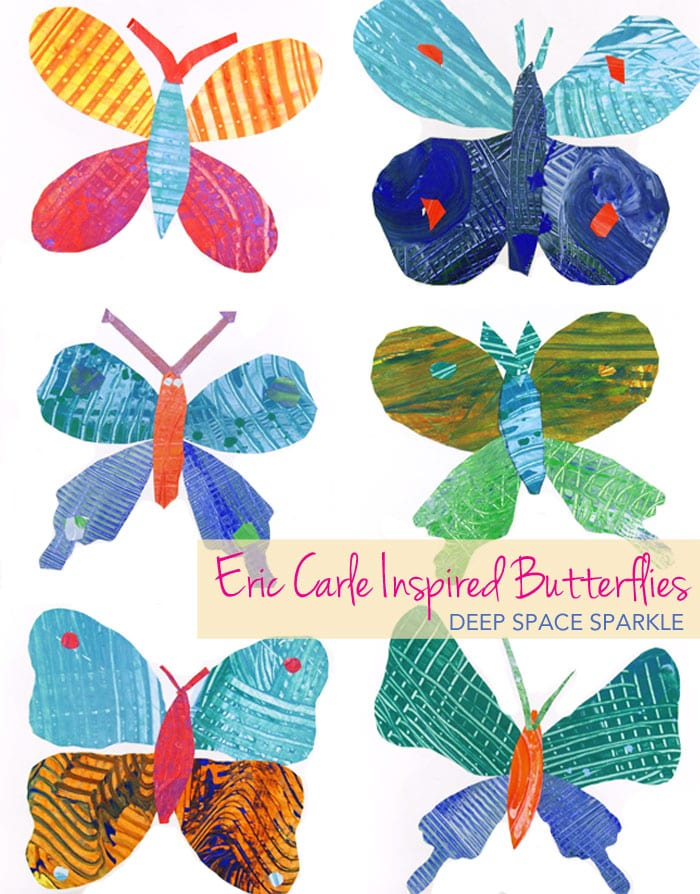Kids make painted paper and use templates to create a beautiful Eric Carle inspired butterfly. Easy craft for boys and girls.