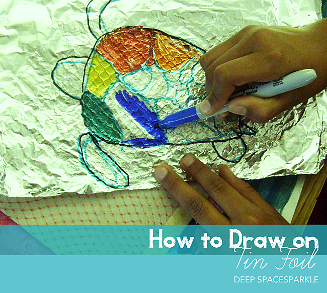 Drawing-on-tinfoil-