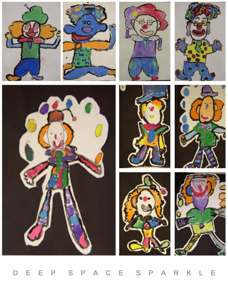 Painted Clown Art Lesson Gallery