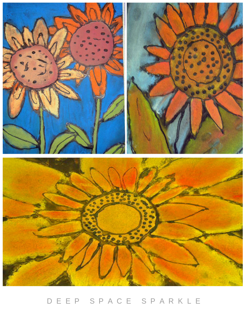 Pastel Sunflower Art Lesson Gallery