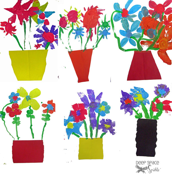 Vase and Stamped Flowers Art