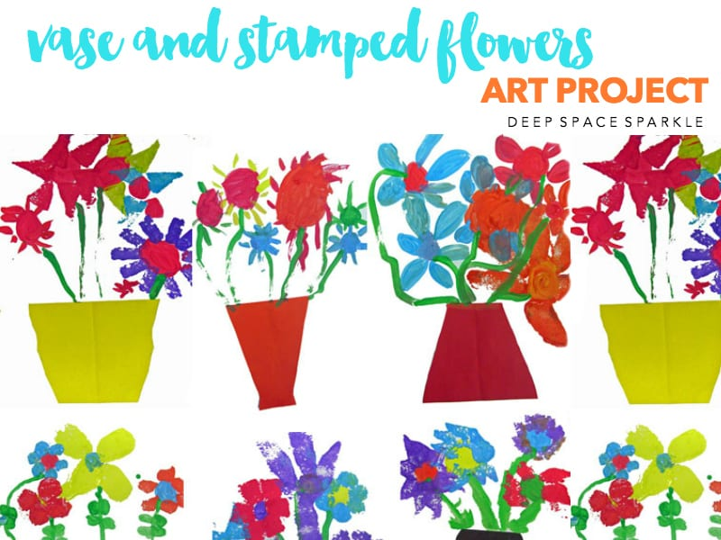 vase and stamped flowers art project