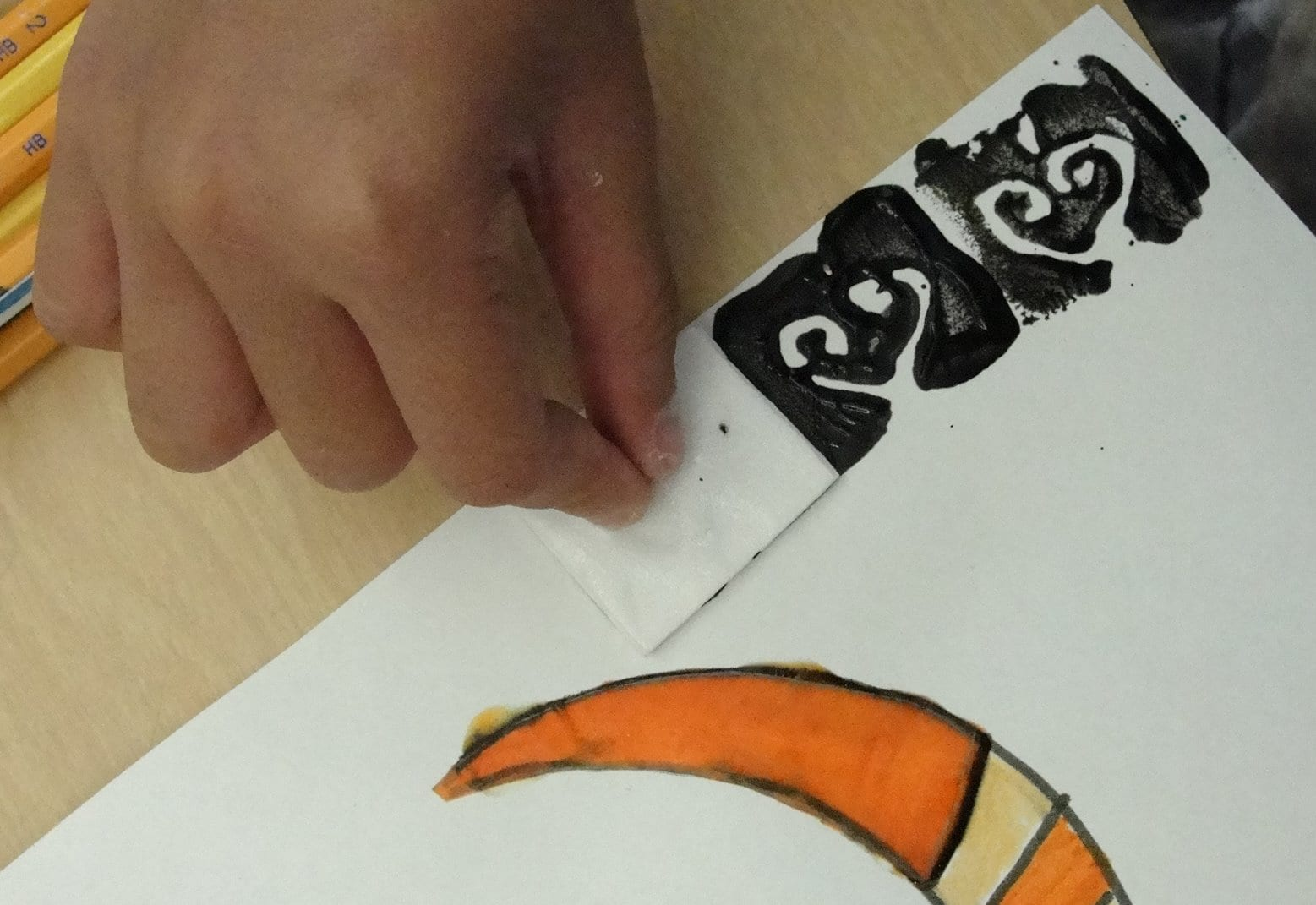 Stamping the tribal masks