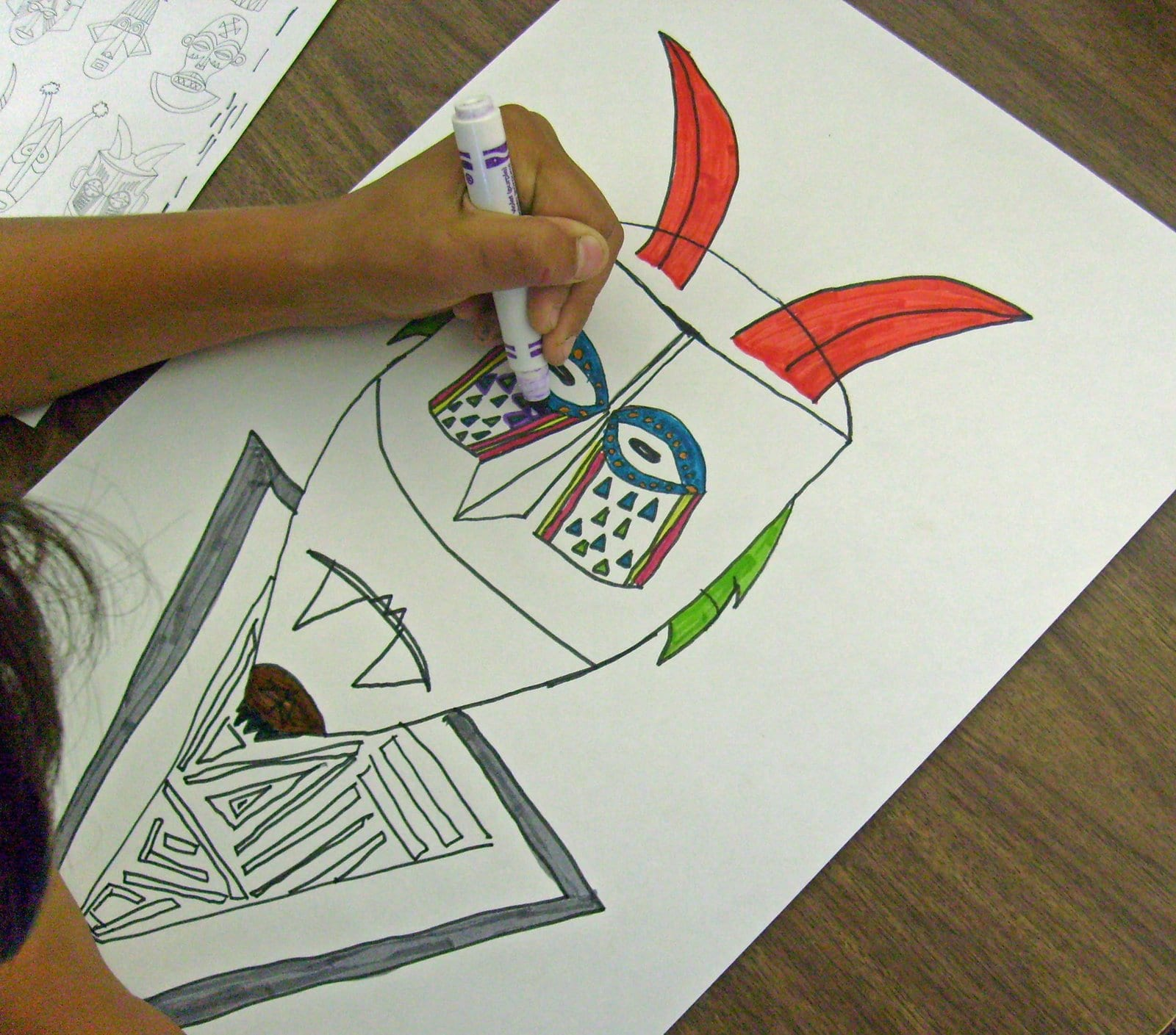 Coloring the tribal masks