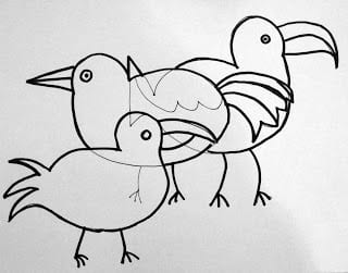 How to draw overlapping birds outlined