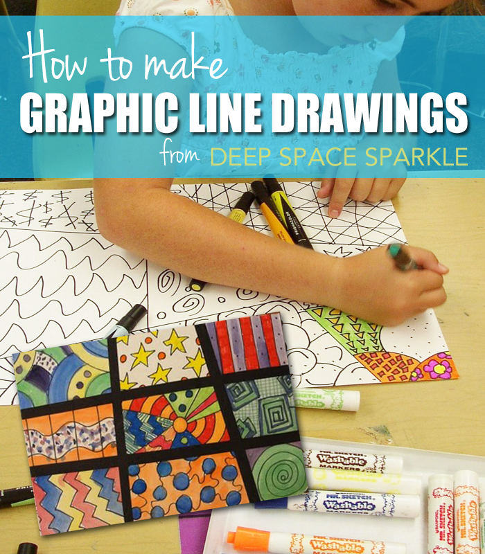 Using simple art supplies like markers, paper and paint, kids draw graphic elements in a grid. Pop art art lesson.