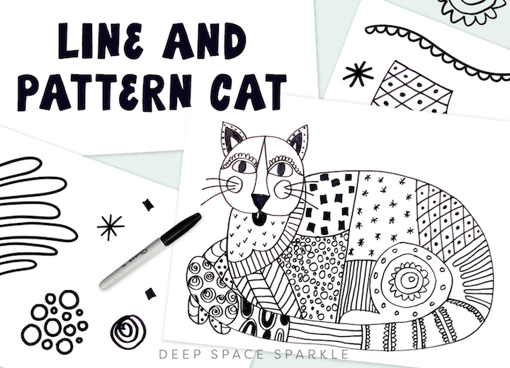 Line and patterned cat art lessons for younger students in the classroom this fall