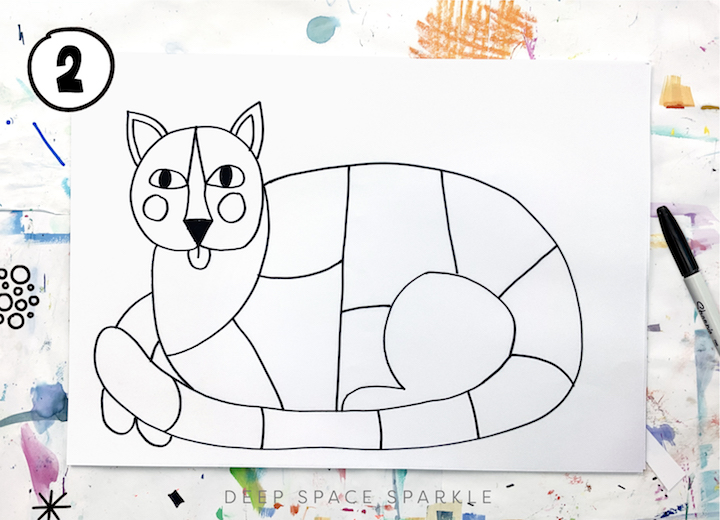 Line and pattern cat art project that is perfect for children in the classroom for the fall