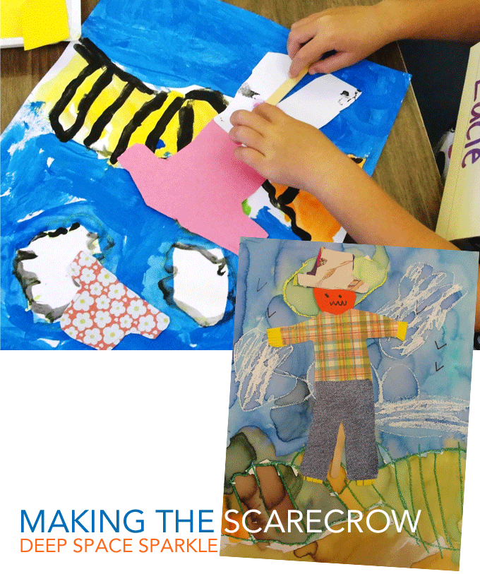 Scarecrow art project for kids: two paint choices creates two options for lessons