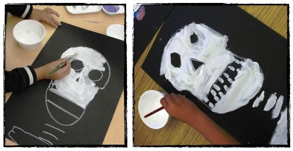 Painting the sugar skull in the classroom