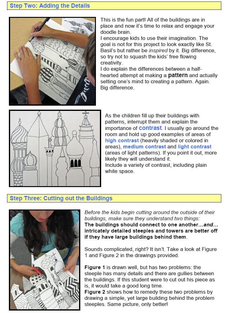 folk art city drawing guide
