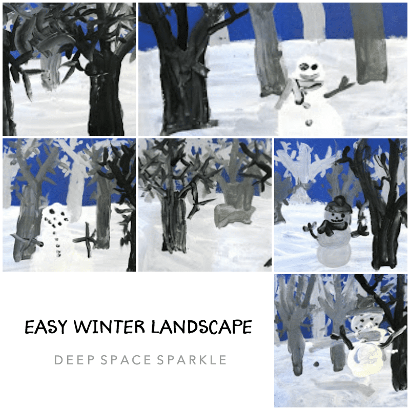 Easy Winter Landscape Art Lesson Gallery