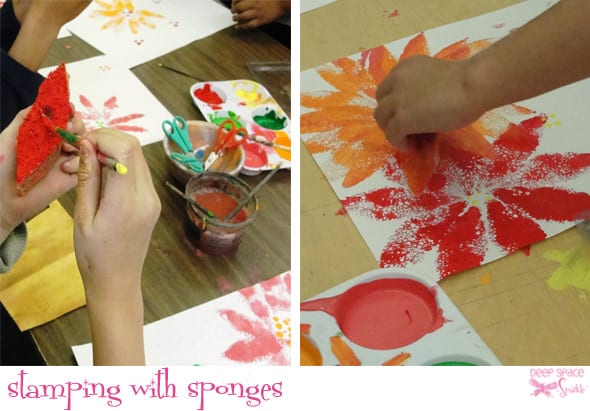 Stamping with sponges- PPoinsettia Plant Mixed-Media for Third Grade