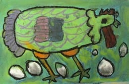 Big Fat Hen: Chalk and Oil Pastel Drawing