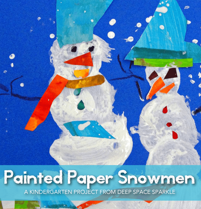 Kinders paint a snowman and use painted paper to add details