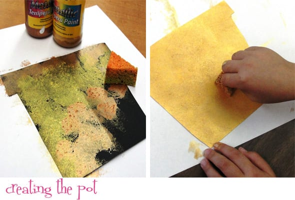 Creating the pot- Poinsettia Plant Mixed-Media