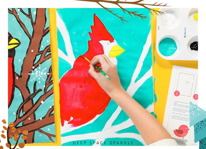 winter cardinal painting the bird red project for kids art craft