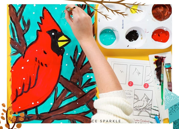 winter cardinal final step adding white to make snowflakes art for kids