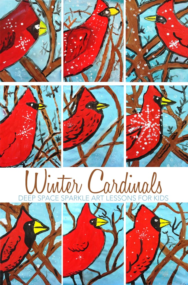 Cardinals in Winter Art Lesson | Deep Space Sparkle