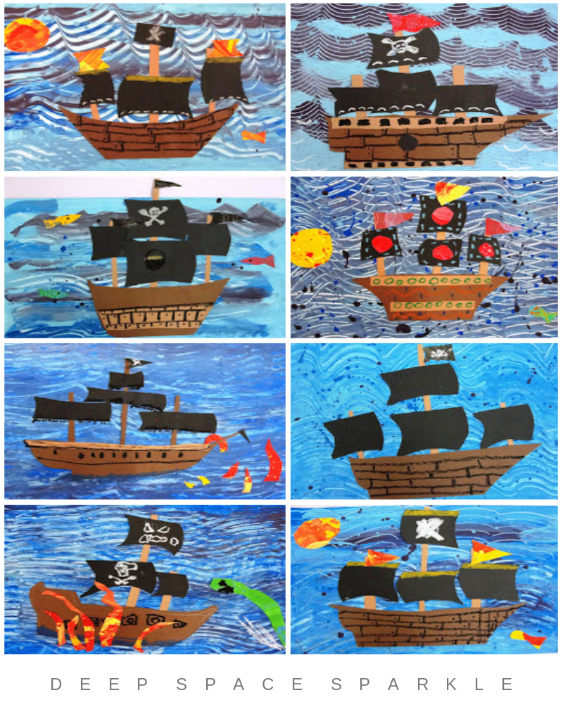Pirate Ships Art Lesson Gallery