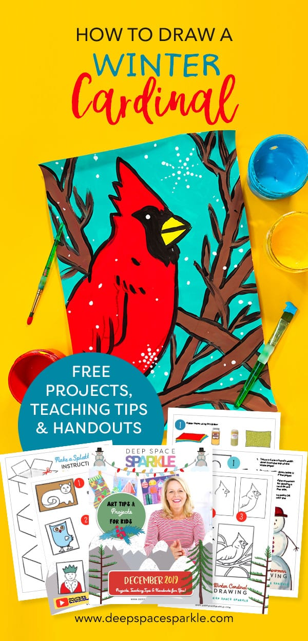 how to make a winter cardinal art lesson for kids