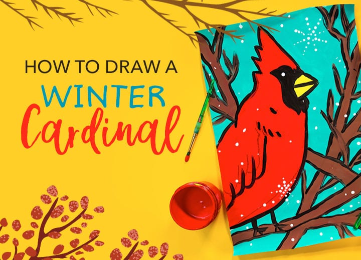 winter cardinal project for kids how to make bird art