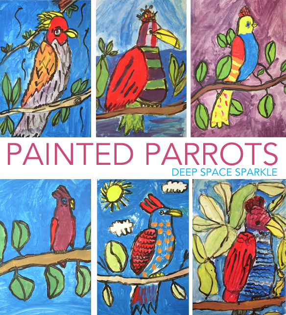How to draw and paint a parrot art project for kids