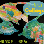 Painted paper fish collage art project