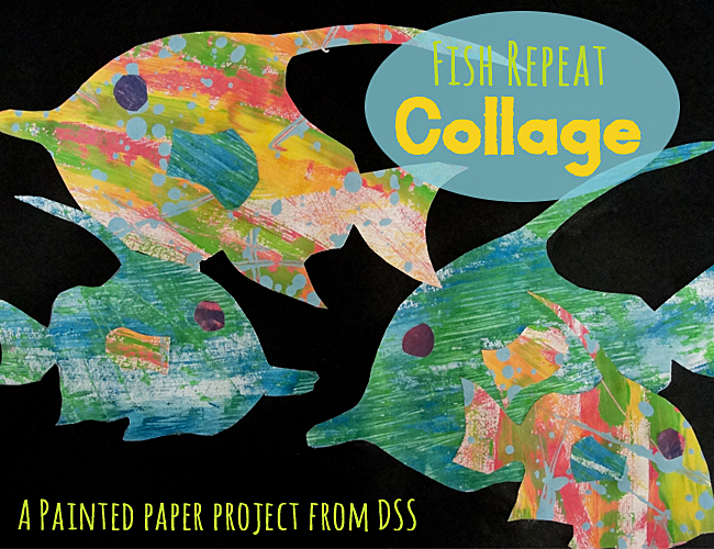 Repeat Fish Collage Using Painted Paper