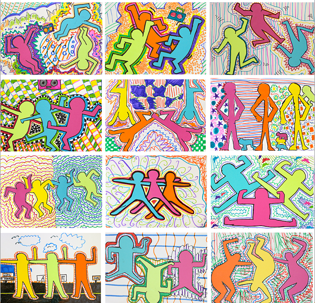 Graffiti color figures by keith haring
