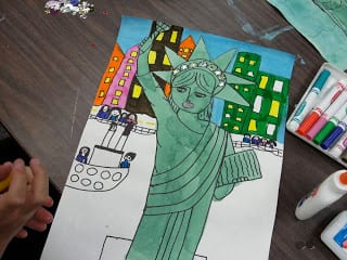 Statue of liberty colored in.
