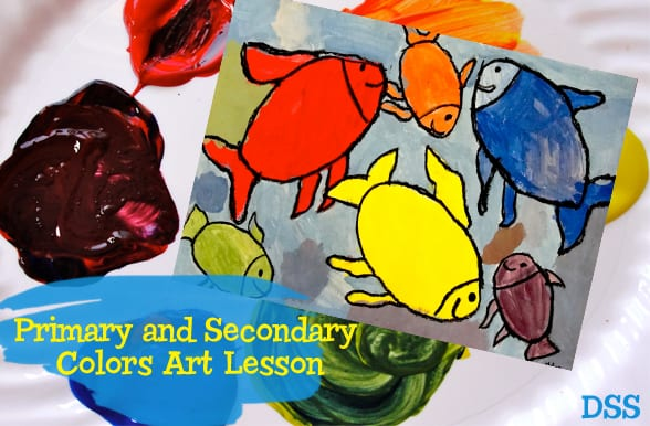 Teach children how to make secondary colors with primary colors: Colorwheel Fish Art Project