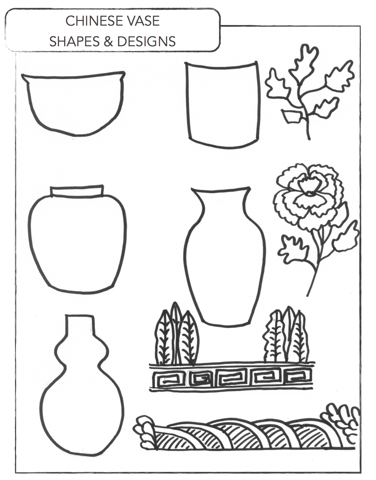 Chinese vases shapes example for art lesson